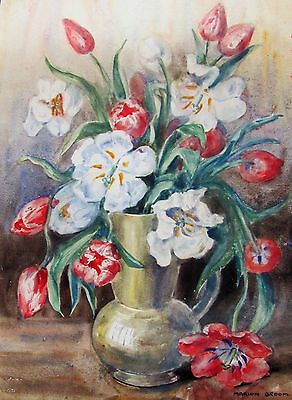 Marion Broom - Perfect Bouquet Listed Artist Watercolor - C. 1920 - No Reserve