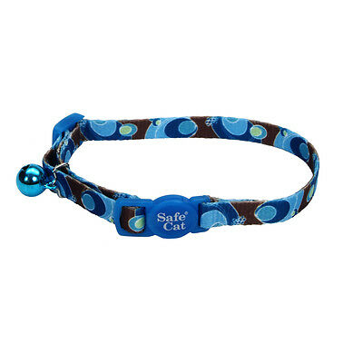"Coastal Safe Cat Blue Swirls Safety 8""-12"" Breakaway Collar. Free Ship In Usa"