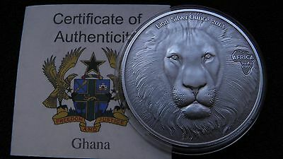 2013 Ghana 5 Cedis Lion Head 1 oz. Antique Finish Silver coin