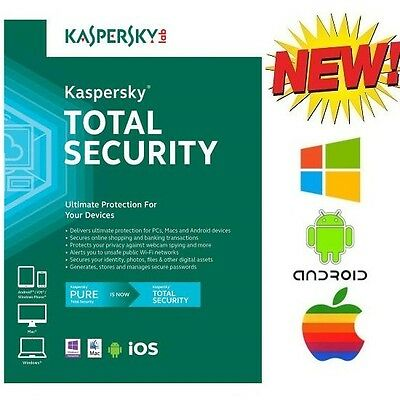 NEW Kaspersky Total Security Multi Device 3 Device Windows 10 Android iOS Mac