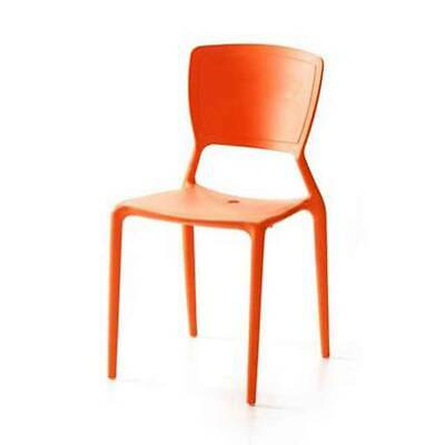 Restaurant CHAIR Replica Viento Stackable Cafe Dining Chairs Mandarin Orange