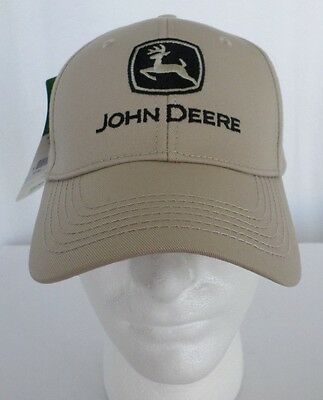 John Deere Logo and Spell Out Snap back Hat Stone Tan Black Logo NEW