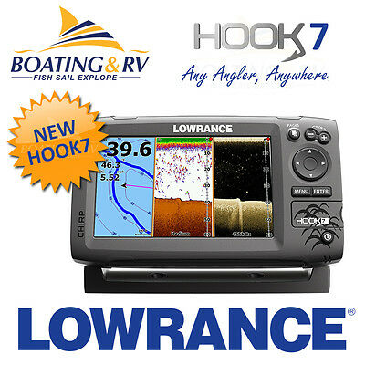 Lowrance HOOK 7 Fishfinder Chartplotter + HOOK 7 CHIRP Transducer  FREE POST