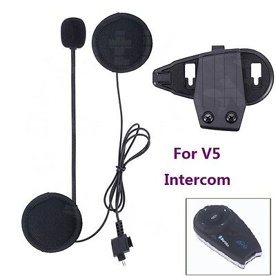 1 Mic/Speaker Headphone Headset+Clip/Mount for Motorcycle Bluetooth V5 Intercom