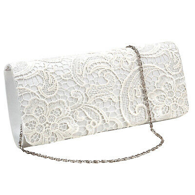 Navy Blue Floral Lace Women Bag Evening Party Prom Clutch Bridal Purse Handbag