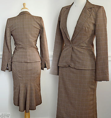 1940's TWEED suit FISHTAIL wiggle SEXY ww2 LAND GIRL brown UTILITY OASIS 8 34