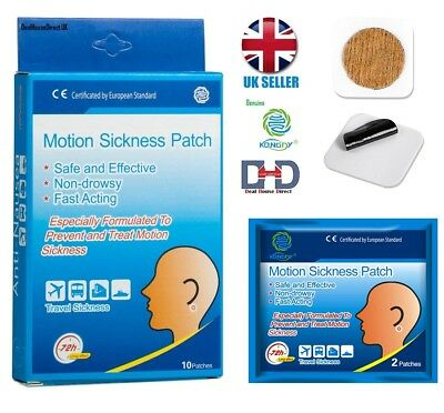 MOTION SICKNESS PATCHES ANTI NAUSEA TRAVEL SEA AIR SICKNESS RELIEF 10 Patches UK
