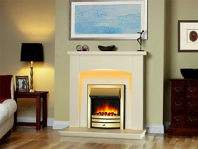 """Endeavour Fires New Cayton Electric 42""""Fireplace Suite, Brass Trim and Fret"""