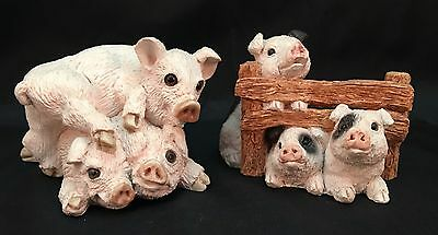 Lot Of 2 Vintage Stone Critters Pig Figurines Pig Pile And Pigs n' Fence