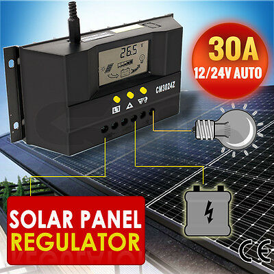 30A 12V/24V LCD Solar Panel Battery Regulator Charge Controller Auto PWM 360/720