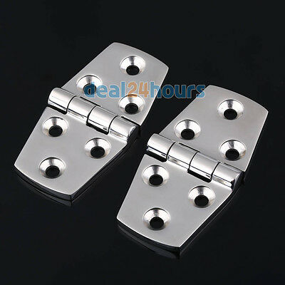 """Boat Marine Flush Door Hinges 3"""" 1 Pair 2 Pieces Casting 316 Stainless Steel"""