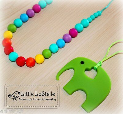 Nursing Necklace Teething Jewelry Silicone Rainbow Bead Elephant Baby Teether