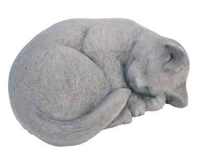 Cast Stone Small Curled Cat Garden Statue Sculpture Antique Gray Yard Art Decor