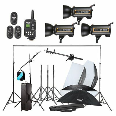 Godox 3X QT600W Studio Flash Light  w/ Stand Softbox Trigger Carrying Case Kit