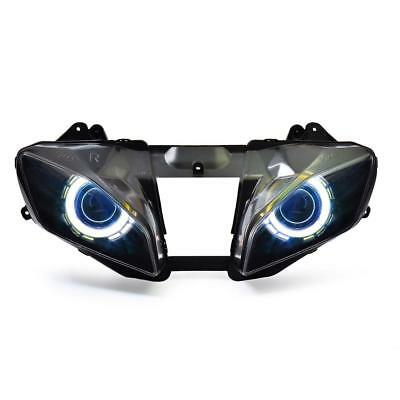KT LED Angel Halo Eyes Projector Headlight Assembly For Yamaha YZF R6 2008-2016