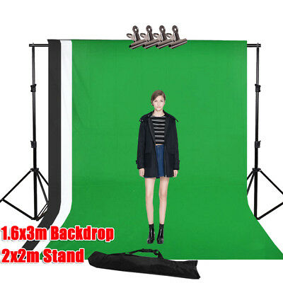 Photo Studio Black White Green Backdrop Lighting Background Support Stand Kit UK