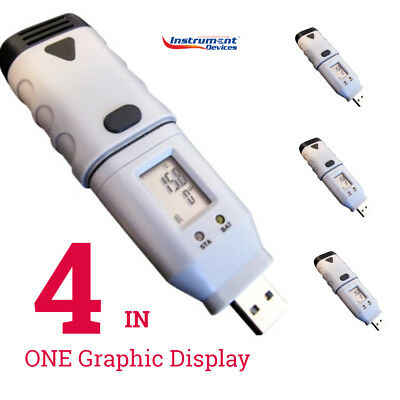 4 x USB Air Temperature Data Logger w/ LCD, All Loggers in One Graphical Display
