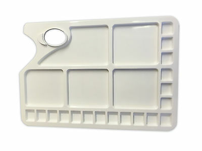 Plastic Rectangular Artist Paint Palette with Thumb Hole - 23 Mixing Wells