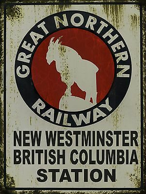 Great Northern Railway New Westminster BC Station Tin sign vintage style