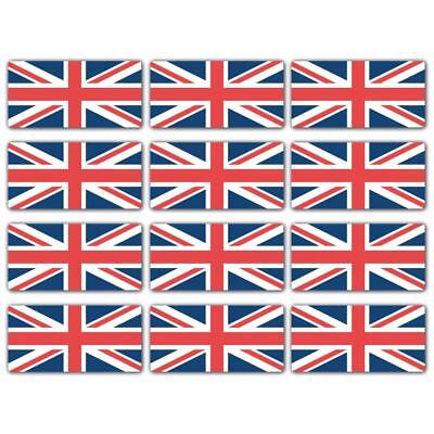 Union Jack Flag Laminated Stickers Small 12x 45x22mm GB English England Decals