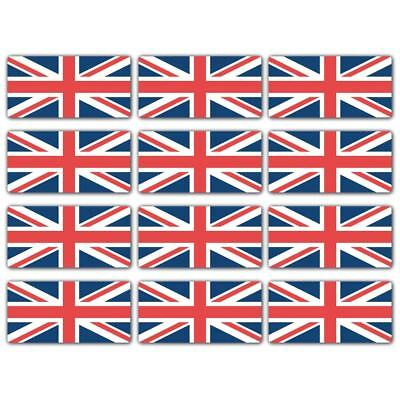 Union Jack Flag Laminated Stickers Small 8x 45x22mm GB English England Decals