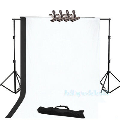 Photography Studio Black White Screen Backdrop Background Support Stand Kit Set