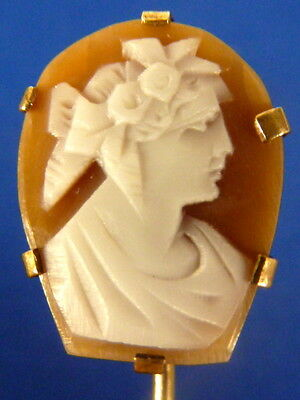 Antique Estate Jewelry Gold Filled Hand Carved Victorian Cameo stickpin