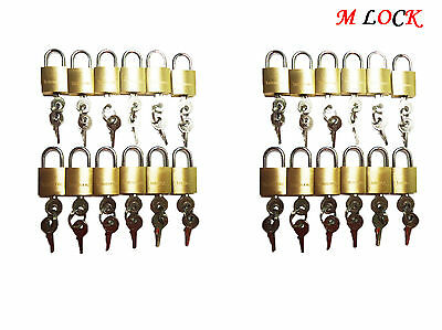 LOT OF 24 small brass padlock (20MM) Mini Tiny Lock Box Jewelry drawer KEY ALIKE