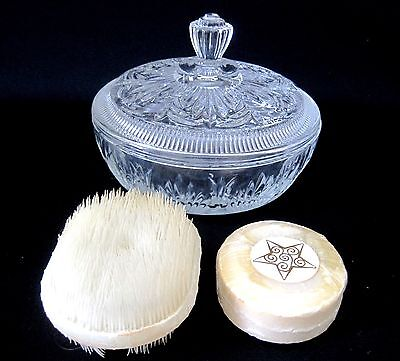 """Vintage Avon Clear Glass Covered Candy Dish with Soap and Brush Unused 6"""""""