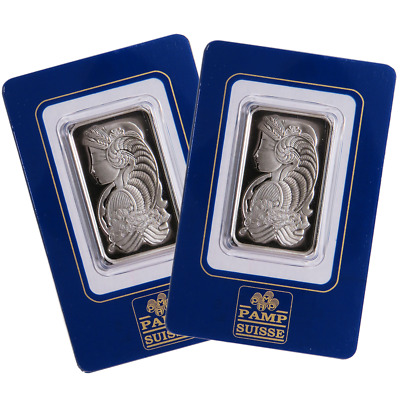 Lot of 2 - 1 Troy oz Pamp Suisse Palladium Bar .9995 Fine In Assay