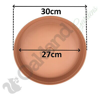 6 x 30cm Plant Pot Saucer Drip Tray Terracotta Plastic Deep High Sided Strong