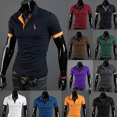 New Mens Fashion Casual Slim Fit T shirt Polo shirt with small sizes Deer