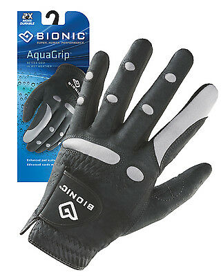 Bionic Mens Wet Weather Aqua Golf Glove w/Microfibre suede. Right & Left Hand