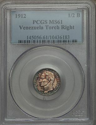 1912 Venezuela 1/2 Bolivar PCGS MS 61, Superb Toning, Only 1 MS Example @ NGC