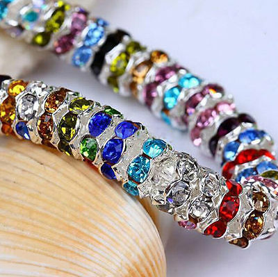 50/100 Silver Plated Czech Crystal Glass Spacer Rondelle Beads Charm Finding 8mm