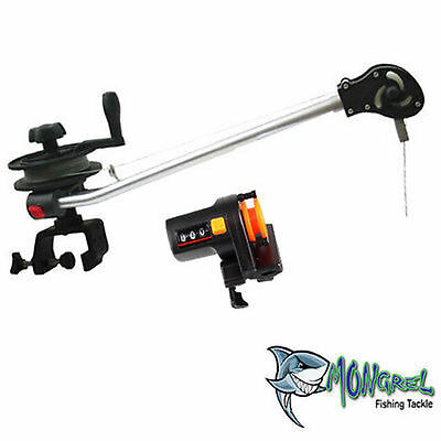Tournament  Manual Downrigger  With G Clamp,clip And Cable & Depth Finder