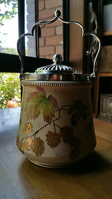 Carlton Ware Biscuit Barrel Maple Autumn Leaves and Gold Superb