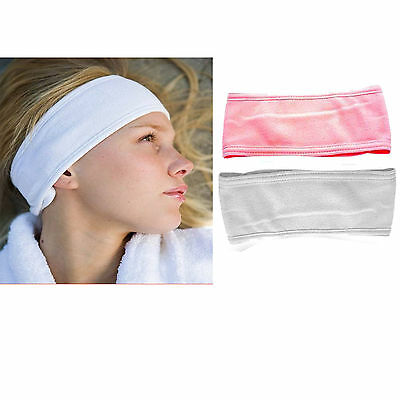 Soft Cotton Microfibre Makeup Headband Elasticated Washable Make Up Pink White