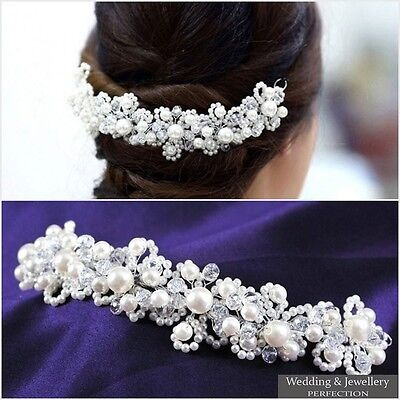 Wedding Bridal Prom Party Pearl Crystal Flower Tiara Hair Band Headband Princess
