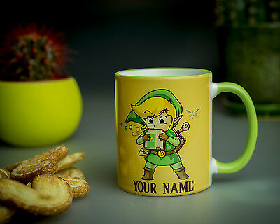 THE LEGEND OF ZELDA Mug Hero of time game coffee cup with name Link Twins