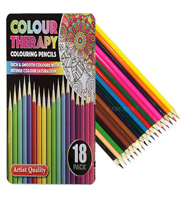 18 x Colour Therapy Professional Artist Quality Colouring Pencils +Tin