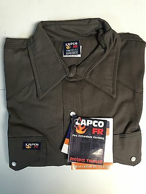 Lapco 7oz Flame Retardant Gray Work Shirt Large