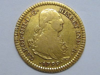 1799 Charles Iv 2 Escudos Mexico Mint Gold Spain Spanish
