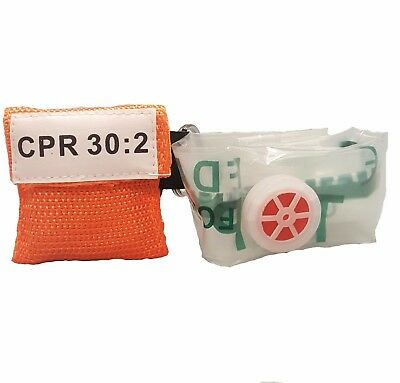 10 Orange CPR Mask with Keychain - Face Shield with GLOVES