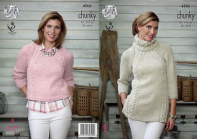 KING COLE 4506 CHUNkY KNITTING PATTERN SIZE 32-46 NOT the  FINISHED GARMENTS