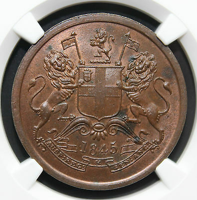 East India Company 1845-C Half Anna S&W 2.59 Type-A MS-63 (FINEST Known in BN)
