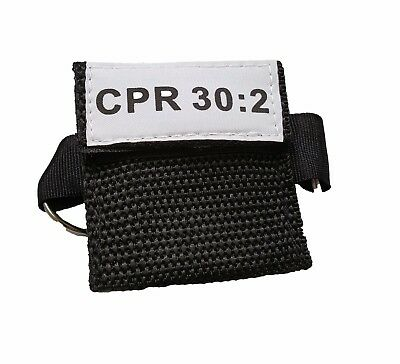 100 Black CPR Mask Keychain Face Shield with GLOVES imprinted CPR 30:2