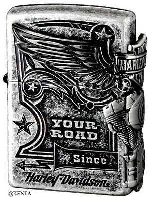 Zippo Lighter HARLEY-DAVIDSON Antique Silver HDP-28 From Japan F/S