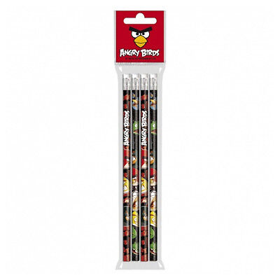 Angry Birds Pencils With Rubber Eraser Pencil Pack of 4 Black Stationery