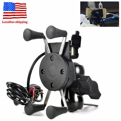Motorcycle MTB Bicycle Bike Handlebar Mount Holder For Cell Phone & USB Port